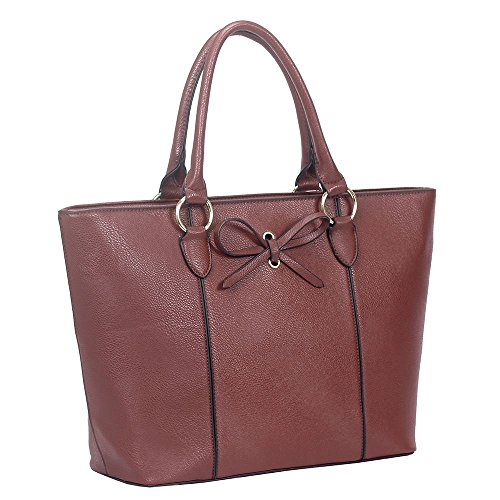Decoration Bag Tote Shopper Faux Leather Bow Burgundy Ladies tYwqTOX