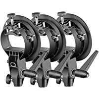 Neewer Portable S-Type Bracket Holder with Bowens Mount for Speedlite Flash Snoot Softbox Beauty Dish Reflector Umbrella Photo Studio Accessories(3 Packs)