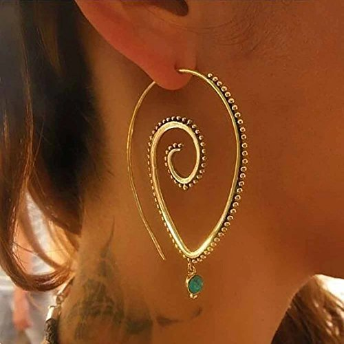 Shape Dangling Oval Ring (Satyam Kraft Women's Metal Golden Oval Shape Spiral Light Weight Earring)