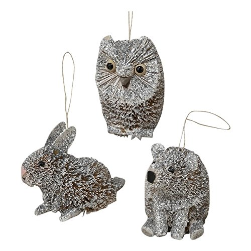 Christmas Tablescape Decor - Glittered buri brush winter white assorted animal ornaments - Set of 3 Owl, Rabbit, and Bear by Kurt Adler