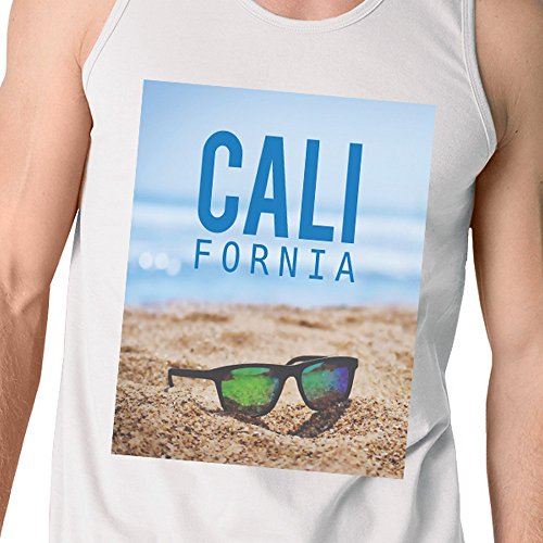 Unique 365 Sans Tank White Pull Top Beach Taille Manche California Homme Sunglass Printing fAqFwfZxg
