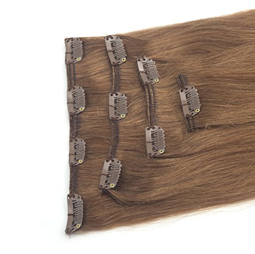 Long Straight Remy Human Hair Clip in on 4 Pieces 13''-19'' Full Head Hair Extensions 10 Clips Hairpieces by Sexy_Forever (Image #4)