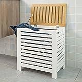 SoBuy® porta biancheria, Cesta con coperchio, colore: bianco e naturale, FSS48-WN