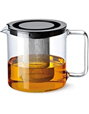 Bohemia Cristal 093 006 005 Simax dzbanek do herbaty cylindryczny 1,3 l z odpornego na wysokie temperatury szkła borokrzemowego z pokrywką z tworzywa sztucznego i metalowym sitkiem