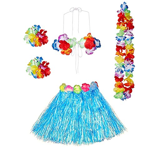 Gauss Kevin Girls Hawaiian Hula Skirt Dancer Grass Skirt with Flower Costume Set Blue -