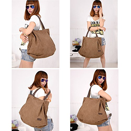 Vintage Travel Shoulder Shopping Girls School Simple Hobo Canvas Work for and Women Bag Handbag Brown Bag Tote Bag Shopper for pwnSzq
