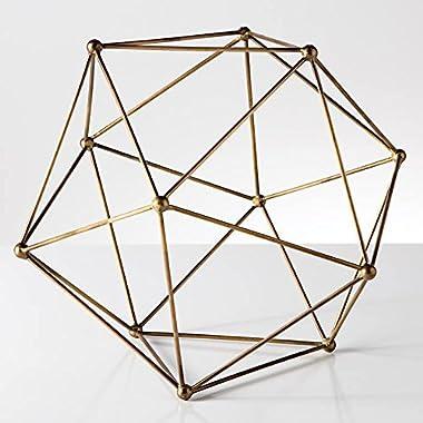 Torre & Tagus 902237C Polygon Antique Brass Decor Ball, Large