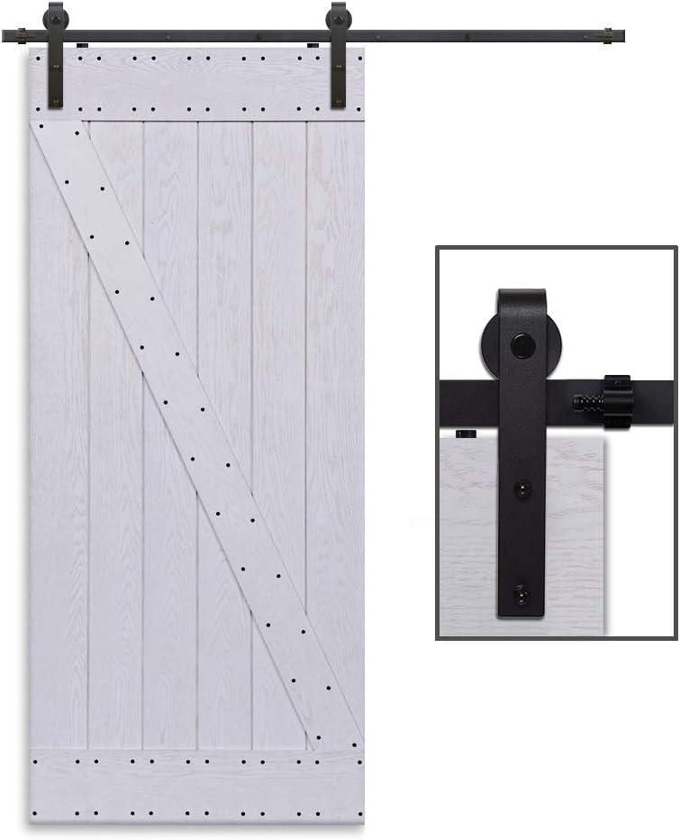 CCJH 10FT-304cm Retro Corredizo de Madera Granero Puerta Hardware Kit Armario Corredizo de la Riel Colgadores de Rueda para una sola Puerta Flat Shaped