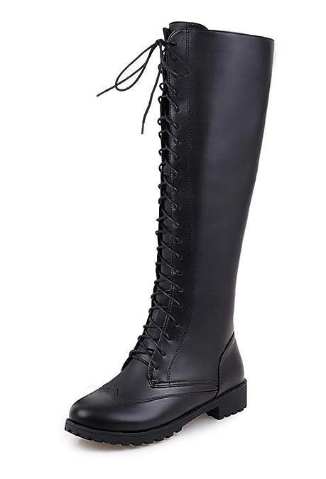 11590a3c04e7 Vitalo Womens Low Chunky Heel Lace Up Knee High Combat Platform Boots Size  2UK