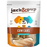 """Jack&Pup Premium Grade Odor Free Cow Ears Dog Treats, (15 Pack) – 8"""" Long All Natural and Unflavored Gourmet Dog Treat Chews – Fresh & Tasty Low-Calorie Treat"""