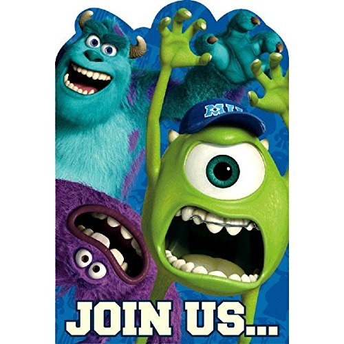Amscan Monsterrific Disney Monsters University Birthday Party Invitation Cards, Blue, 6 1/4