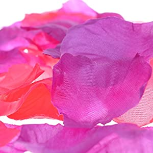 COSMOS 1000 Pcs Artificial Flower Rose Petals Wedding Party Decoration Confetti, Hot Pink and Purple 2