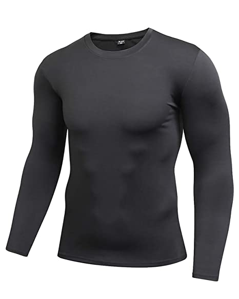 ENIDMIL Men s Long Sleeve T-Shirt Baselayer Cool Dry Skin Fit Compression  Shirt (S 8067769e77a