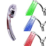 3-Color Temperature Sensitive Gradient LED Shower Head Showerheads Light Water Stream Color Changing Shower Head For Kitchen and Bathroom Baby Safty