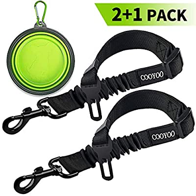 COOYOO-Dog-Seat-Belt2-Pack-Pet-Car-Seat-Belts-Adjustable-Heavy-Duty-Elastic-Vehicle-Dog-Safety-Belt-Harness-for-Travel-Daily-Use-Compatible-with-Any-Pet-Harness