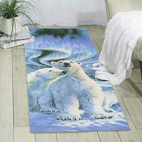 Bghnifs Polar Bears Northern Lights Print Area Rug Runner Rug Living Room Carpet Hallway Carpet Entry Rugs Room Bedroom Rugs, 70'' X 24''