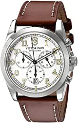 Victorinox Men's 'Infantry' Swiss Quartz Stainless Steel and Brown Leather Casual Watch (Model: 241568)