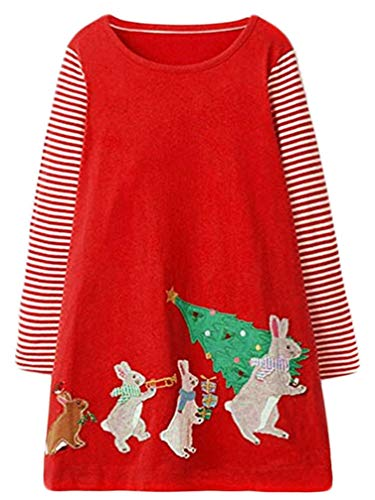 Cute Toddler Girl Long Sleeve Cotton Dresses Christmas