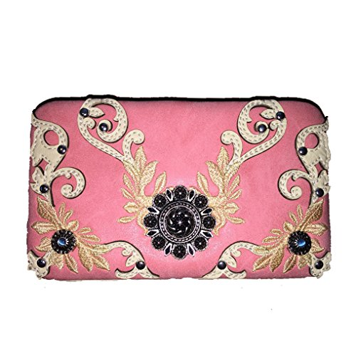 Pink Leather Concho Embroidered Handbag Concealed Buckle Purse Style Rhinestone Shoulder Carry New q0fPW