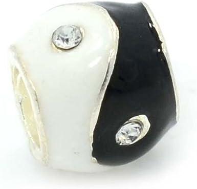 Amazon.com: Black And White Enamel Ying Yang Charm Bead. Fits ...