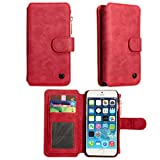 iPhone 6S Case, Apple iPhone 6 S Wallet Case , TILL(TM) 2 in 1 PU Leather Carrying Zipper Flip Cover [Cash Credit Card Slots Holder] Detachable Magnetic Folio Slim Protective Hard Case Shell [Red]