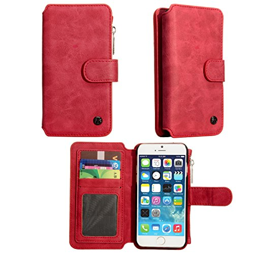 iPhone 6S Case, Apple iPhone 6 S Wallet Case , TILL(TM) 2 in 1 PU Leather Carrying Zipper Flip Cover [Cash Credit Card Slots Holder] Detachable Magnetic Folio Slim Protective Hard Case Shell [Red] by TILL