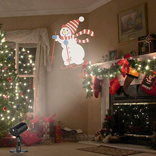 EAMBRITE Christmas Led Snowman Skiing Projector Lights Waterproof Animated Projector Decorations for Xmas Holiday Theme Party Indoor Outdoor Use