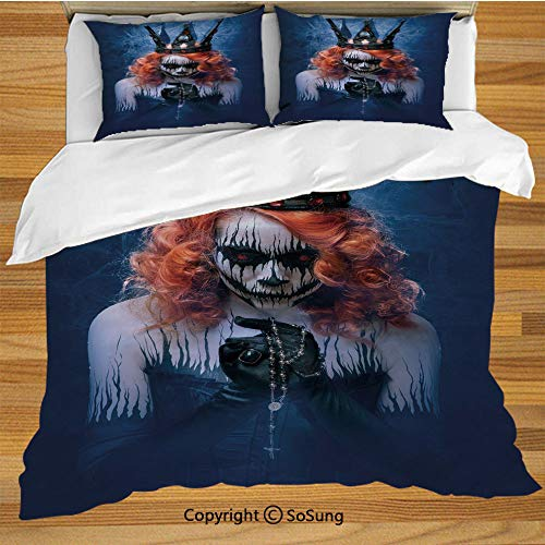 Queen Queen Size Bedding Duvet Cover Set,Queen of Death Scary Body Art Halloween Evil Face Bizarre Make Up Zombie Decorative 3 Piece Bedding Set with 2 Pillow Shams,Navy Blue Orange Black]()
