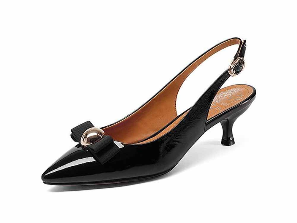 Onfly New Frauen Casual Slingback 2018 New Leather Spitz Nieten Pumps Bow Buckle Sandalen eu size  35|Schwarz