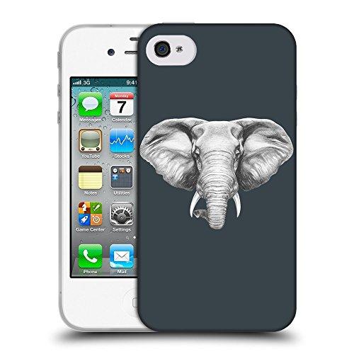 GoGoMobile Coque de Protection TPU Silicone Case pour // Q05130606 Dessin éléphant Arsenic // Apple iPhone 4 4S 4G