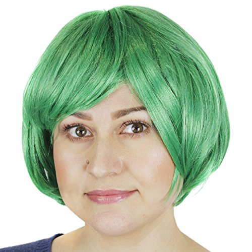 St. Patrick's Day Green Wig - Short Bob Hair Costume with Mesh Head Cap for -