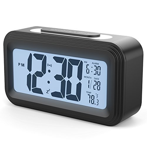 [Upgrade Version] Battery Operated Alarm Clock, GABONE Electronic Large LCD Display Digital Alarm Clocks with Snooze,Backlight,Night Light,Temperature (Black)