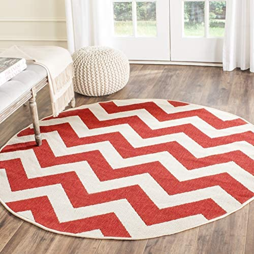 Safavieh Courtyard Collection CY6244-248 Red Indoor Outdoor Round Area Rug 7 10 Diameter