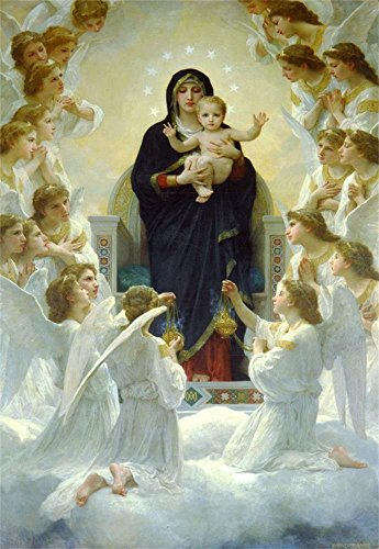 Laeacco 3x5FT Backdrops Virgin Mary & Christ Child Aesthetic Oil Painting Bible Christian Believer Jesus Nativity Religion Vinly Photography Backdrop Video Photo Studio Props