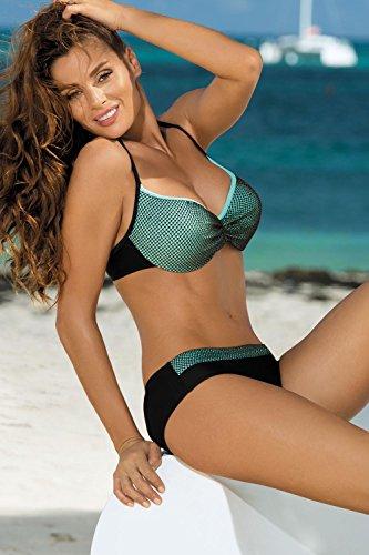 M a Nero originale maglia Nadia traforata verde fabbricato e con 374 coppe rete in bikini coperto UE profilate Marko 8qHA5TwT