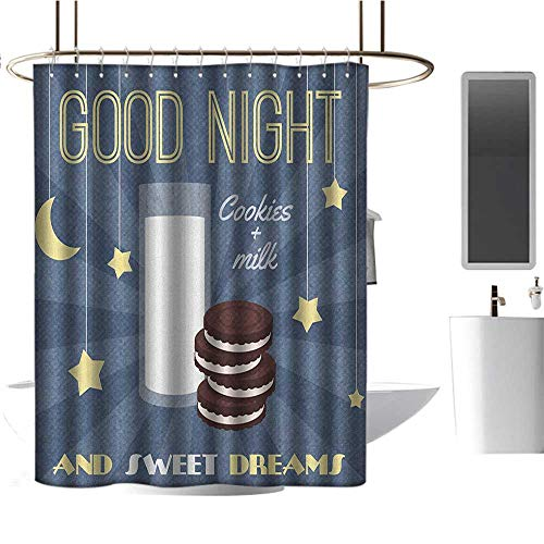 - Fabric Shower Curtain Sweet Dreams,Retro Poster with Chocolate Biscuits and a Glass of Milk Good Night Quote, Multicolor,Hand Drawing Effect Fabric Shower Curtains 60