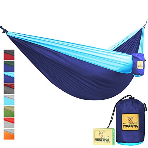 Hammock for Camping Single & Double Hammocks - Top Rated Best Quality Gear For The Outdoors Backpacking Survival or Travel - Portable Lightweight Parachute Nylon DO Navy & Lt Blue