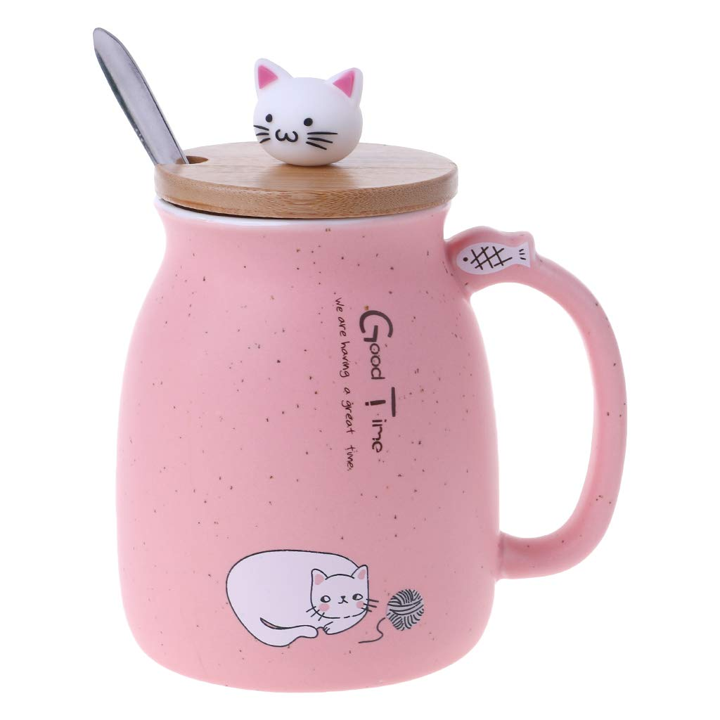 Kalttoyi Cat Ceramic Mug Coffee Heat-resistant Cup With Spoon Lid Drinkware Children Gift