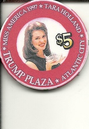 $5 trump plaza miss america tara holland 1997 atlantic city boardwalk casino chip super - Americas Las Plaza