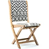 Solid Wood Frame Chevron Patterns Conveinently Foldable Chair