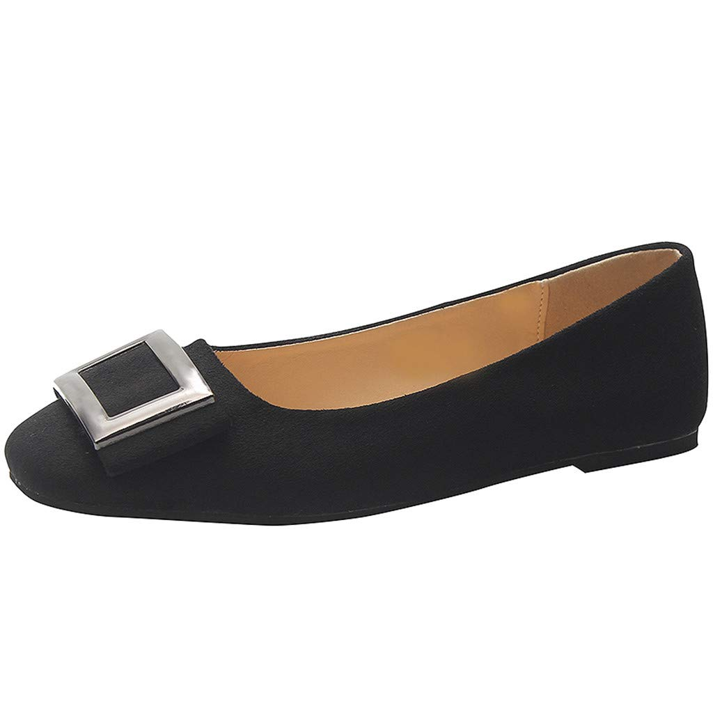 Aunimeifly Woman's Four Seasons Shoes Pure Color Shallow Flats Ladies Square Metal Buckle Single Shoe Black by Aunimeifly