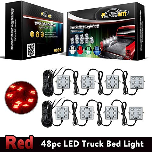 Partsam 8Pods Bright Truck Bed Lighting Kits 48 LED Red Rear Work Box Truck Pickup Cargo Bed Tail Light Universal for 12V Truck Puckup SUV Van