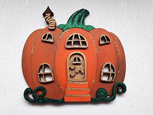 Handpainted Pumpkin Halloween Fairy Door, Autumn Fall wall decoartion (Decoartions Halloween)
