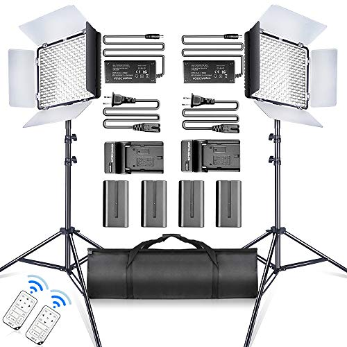 SAMTIAN LED Video Light 600 LED Camera/Studio Light Kit CRI95 3200K/5600K Camcorder Light Kit with Barndoors 75 inches Light Stand Batteries and Remote Camera Photo Light for Studio Photography, Video from SAMTIAN