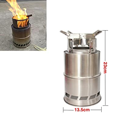 Himamk Camping Stove, Portable Stainless Steel Stove,Charcoal/Solidified Alcohol Stove,Firewood Barrel with Mesh Bag for BBQ, Camping 31cm,5heightening: Home & Kitchen