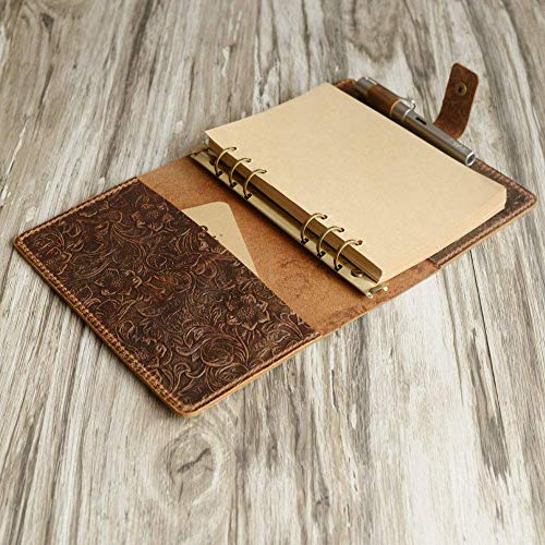 Handmade A5 / A6 6 ring Leather Refillable Planner Binder, travelers Journal, sketchbook, Distressed brown tooled Leather, 707