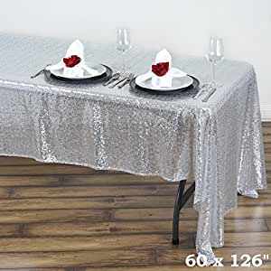 """SILVER Sequined 60x126"""" RECTANGLE TABLECLOTH Designer Wedding Party Catering"""