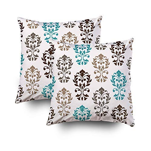 MurielJerome Pillowcase Christmas Heart Damask Art ib Browns Teal Cream Accent 16X16 Inch 2 Set, Decorative Throw Custom Pillow Case Cushion Cover Gift Home Decor