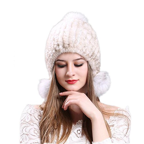 - Bingooutlet Winter Women Mink Fur Knitted Bobble Hat Pom Pom Beanie Hats Earcuff Cap