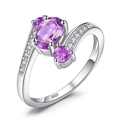 JewelryPalace 925 Sterling Silver 0.9ct Natural Amethyst 3 Stone...